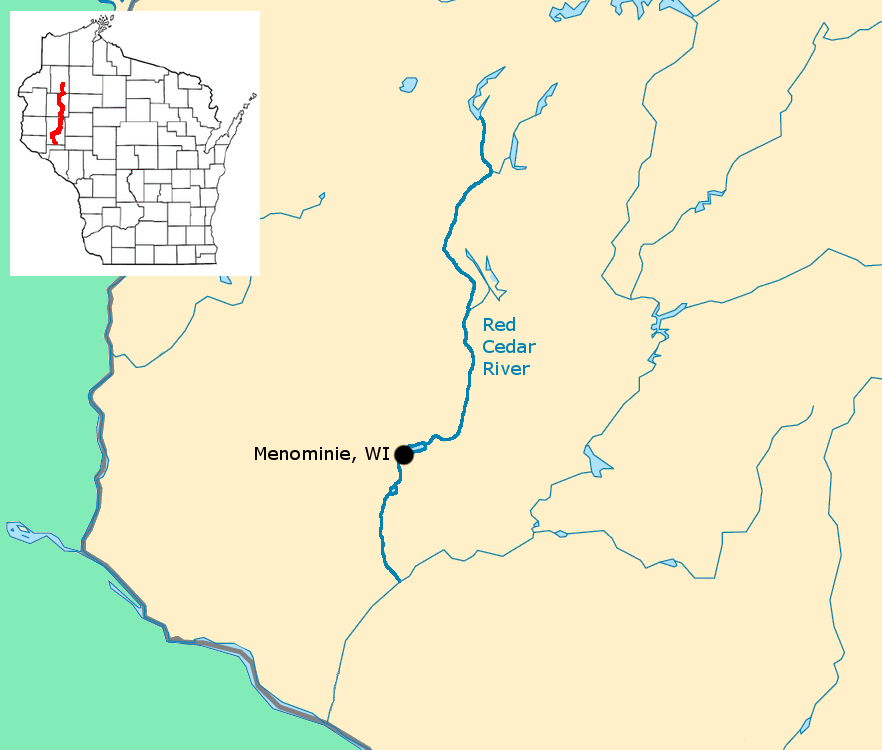 Map Red Cedar River Wiscsonsin