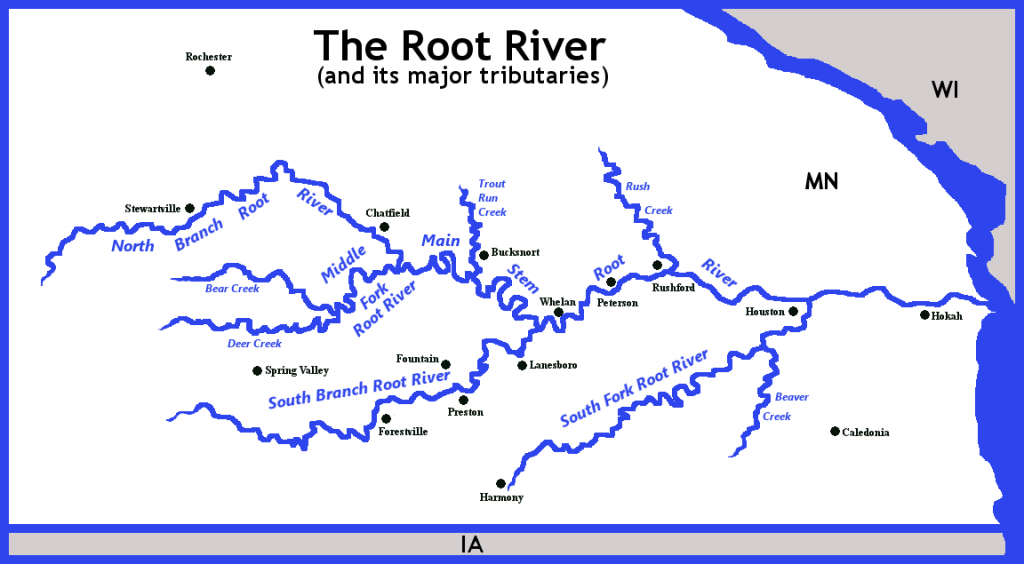 Map of the Root River and its Major Tributaries
